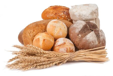 bakery products isolated on white background