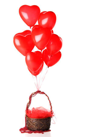 red heart balloons with basket