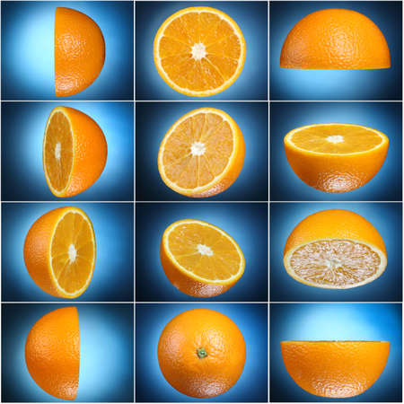 half orange set on blue background
