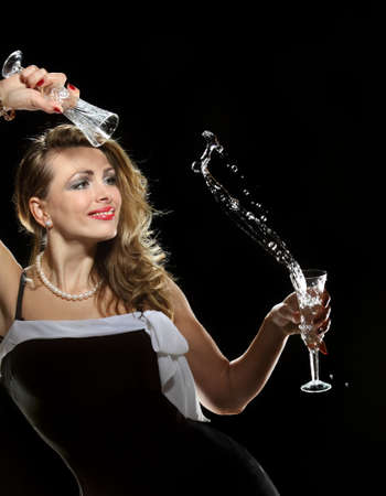play a beautiful woman with water and wine glasses
