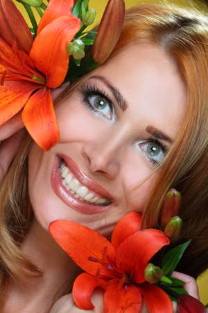 flowers in their hair beautiful woman