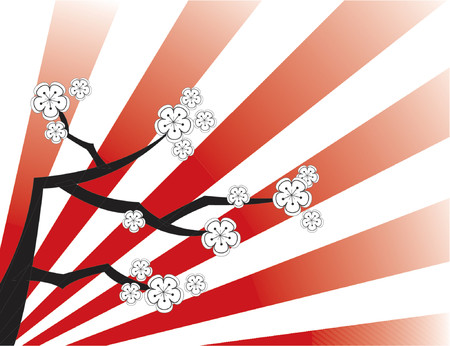 white cherry blossoms on red stripes fade - vector Illustration