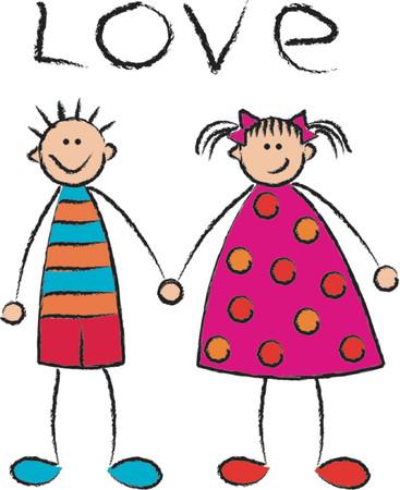 light skin: boy + girl = love (close-up) - vector Illustration