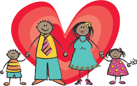 kid vector: Happy Family tono de piel negro - ilustraci�n 2D  pls comprobar mi cartera para las familias de los diferentes tonos de piel