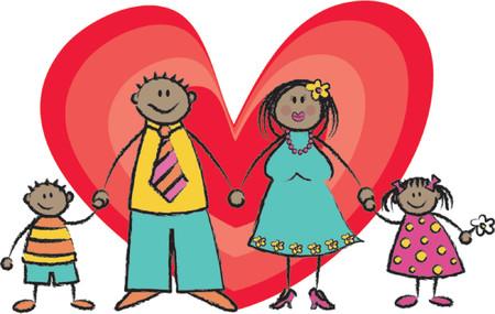 hand holding card: Happy Family zwarte huid toon - 2D illustratie  Pls check my portfolio voor gezinnen van verschillende huidtinten Stock Illustratie