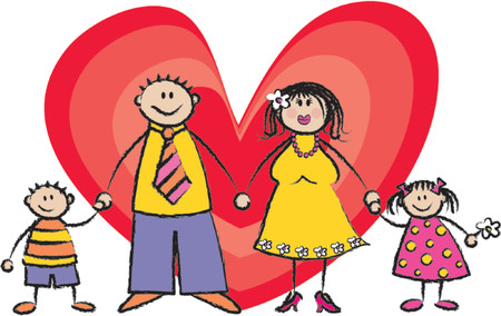 hand holding card: Happy Family eerlijke huid toon - 2D illustratie  Pls check my portfolio voor gezinnen van verschillende huidtinten