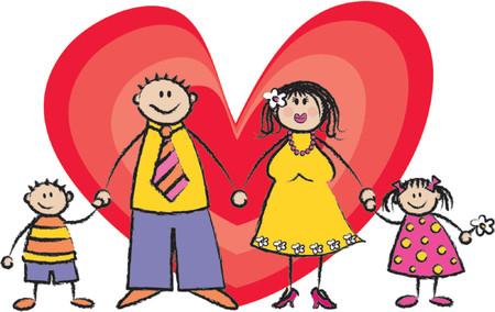 Happy Family fair skin tone - 2D illustration / Pls check my portfolio for families of different skin tones Stock Vector - 1103535