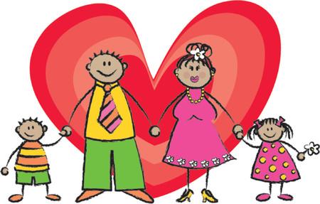Happy Family tan skin tone - 2D illustration  Pls check my portfolio for families of different skin tones Vector