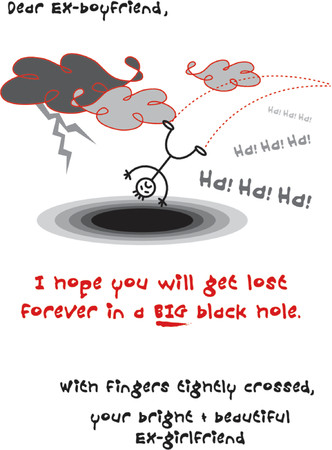 lost love: Ex-Boyfriend Fall into Black Hole - illustrated sarcastic card