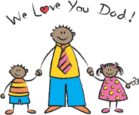 dad daughter: We Love U Dad black skin tone - 2D illustration  Pls check my portfolio for families of different skin tones Illustration