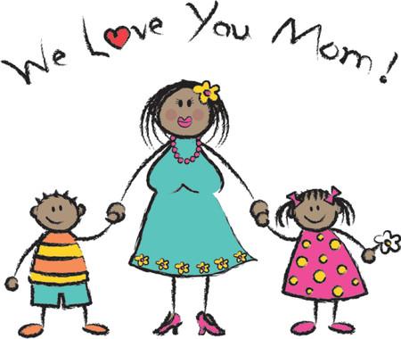 skin tones: We Love U Mom black skin tone - 2D illustration  Pls check my portfolio for families of different skin tones