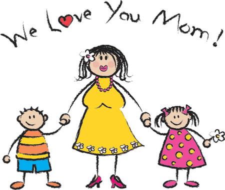 skin tones: We Love U Mom fair skin tone - 2D illustration  Pls check my portfolio for families of different skin tones