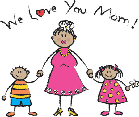 mom and son: We Love U Mom tan skin tone - 2D illustration  Pls check my portfolio for families of different skin tones Illustration