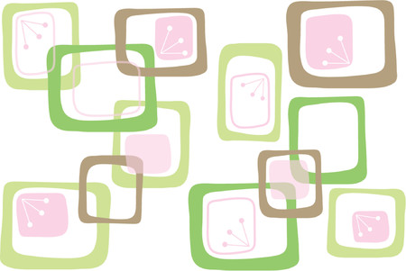 geometric pattern in a square: Retro Pink Brown Green Candy Squares - illustrated graphics