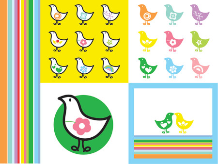 RETRO RAINBOW CHICKS - illustrated graphics   Vector
