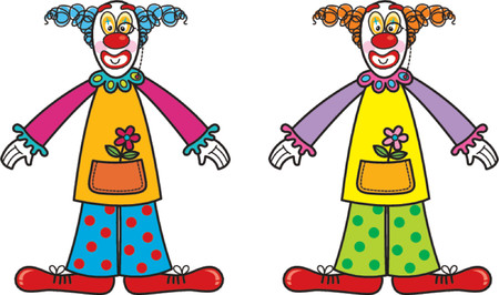 two silly clowns - cartoon illustration Vector