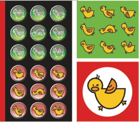 green and red duckies buttons and icons - illustration Vector