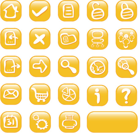 24 glossy orange web icons - illustrated web buttons Vector