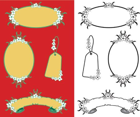 tropical flower blank frames, banner and tag - illustration Vector