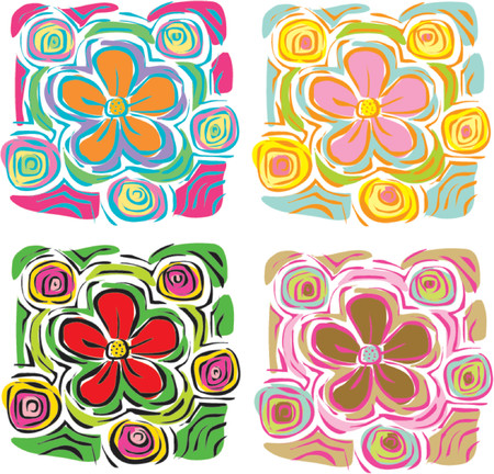 4 colorful tropical flowers - illustration
