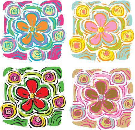 4 coloridas flores tropicales - ilustración