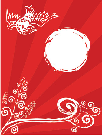 oriental bird and spiral plant on red - illustrated background art Stock Vector - 1200332