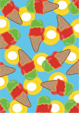 retro cherry and lime ice creams - illustrated background Stock Vector - 1200334
