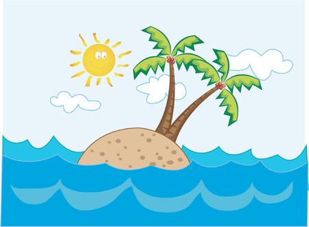 deserted: tropical island paradise - cartoon illustration