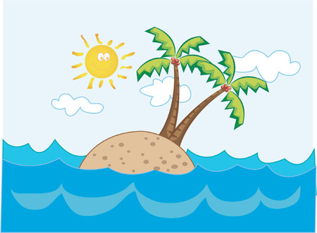 tropical island paradise - cartoon illustration