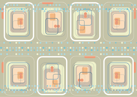 arranged: retro digital squares and blue dots - illustrated background Illustration