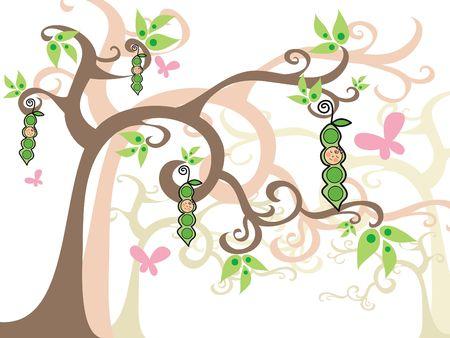 girls peas in pods on magic trees - illustration illustration