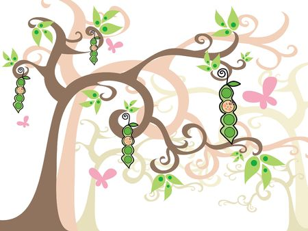girls peas in pods on magic trees - illustration
