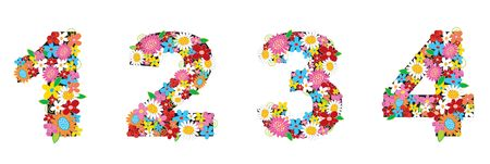 spring flowers NUMBERS 1, 2, 3, 4 - illustration Stock Photo