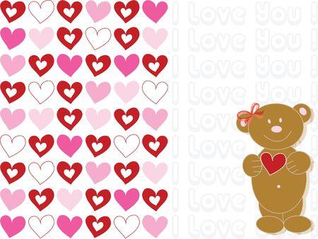 valentine brown teddybear - cartoon illustration Stock Illustration - 1215128