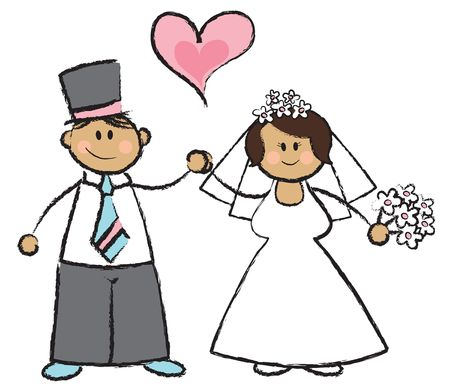 Just MARRIED! - cartoon illustration of a wedding couple Stock Vector - 1390742