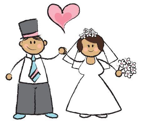 Juste MARIES! -- Cartoon illustration d'un mariage couple  Banque d'images - 1390742