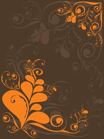 orange grunge swirly on brown - illustrated background Stock Vector - 1390743