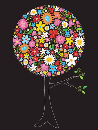 spring flowers pop tree (vector) - illustrated art Illustration
