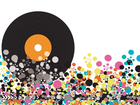 vinyl color disco dots (vector) - illustrated object  background Vector