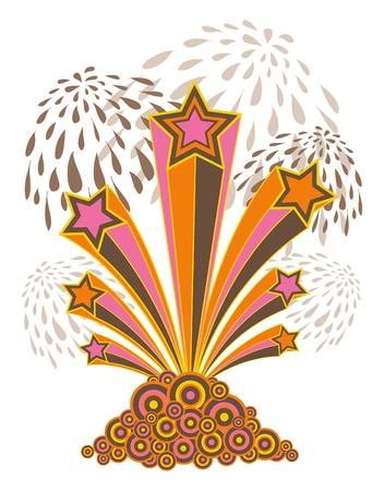 pop star: retro pop stars and fireworks (vector) - illustrated art