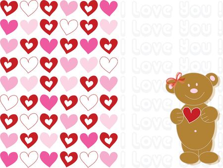 valentine 'i love you' brown teddy bear (vector) - illustration Stock Vector - 1399173