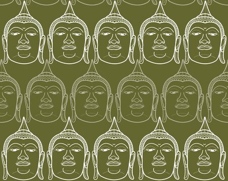 oriental vector: buddha on olive green (vector) - illustrated background Illustration