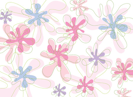 sweet pink fresh blooms (vector) - illustrated background Illustration