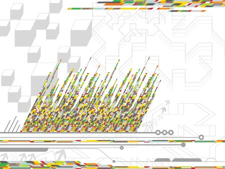 digital yellow orange coding stripes (vector) - abstract illustration Vector