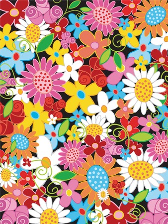summer flower power (vector) - illustrated object  background