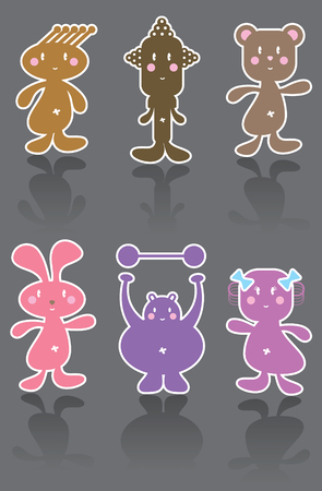 vector cartoon: 6 funny cartoon character icons (vector) - cartoon illustration Illustration