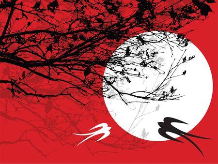 golondrinas: siluetee los ramas, la luna y dos tragos (vector) - arte ilustrado Vectores