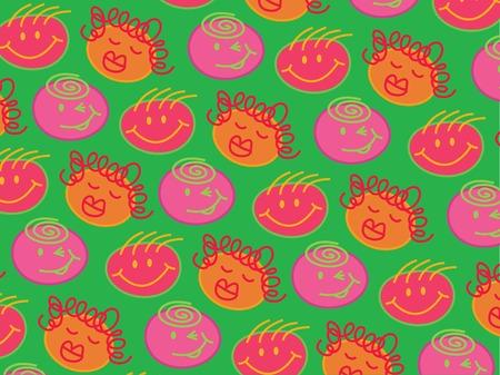 bubblegum: silly bubblegum heads green (vector) - illustrated background Illustration