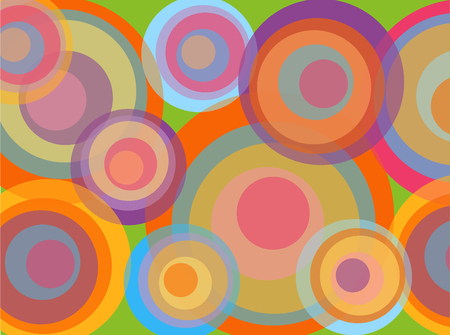 pastel colour: psychedelic pop rainbow circles (vector) - illustrated background