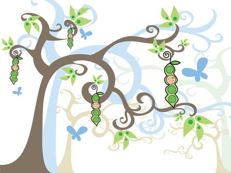 sweet pea: magic tree  BOY in a pod (vector) - illustrated art
